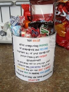 Cheap and Cheerful Graduation Gift ideas (this candy jar would be cute with a gift card sticking out of the middle, or put in a piggy bank for college laundry money.)