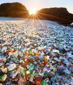 "Glass Beach in MacKerricher State Park near Fort Bragg, California.  Pretty now but horrendous start, residents treating the ocean as their ""Dump""... over time the broken glass has been smoothed out by the pounding waves. #arenophile"