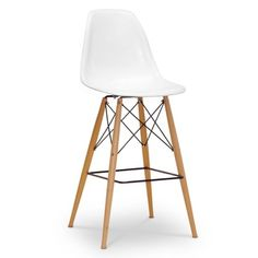 Baxton Studio Azzo White Plastic Mid-Century Modern Shell Stool - 16116750 - Overstock Shopping - Great Deals on Baxton Studio Bar Stools