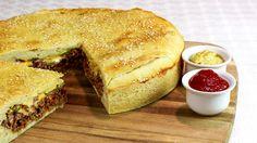 Cheeseburger XXL Cheese Burger, Sandwich Torte, Party Buffet, Salmon Burgers, Bagel, Food Videos, Tapas, Hamburger, Cornbread