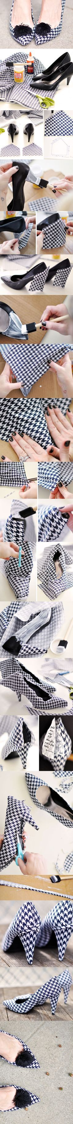 DIY: Designer Shoes Project I don't know whether to put this in shoes or crafts, but it's awesome. Do It Yourself Mode, Do It Yourself Fashion, Shoe Crafts, Diy And Crafts, Diy Projects To Try, Craft Projects, Shoe Makeover, Shoe Refashion, Diy Accessoires