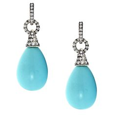 Donna Vock Robin's Egg Turquoise and Diamond Drop Earrings