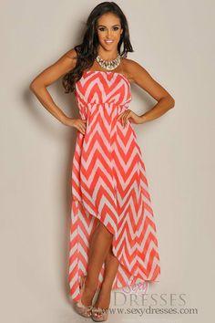 Trendy Coral Chevron Diagonal High Low Dress