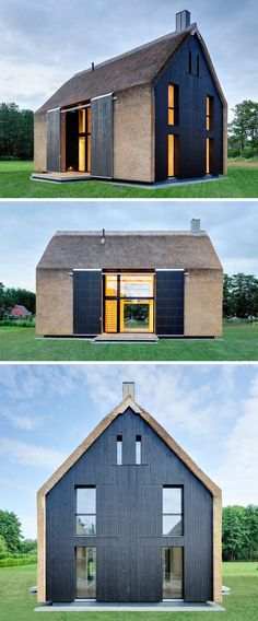 12 Exemplos de casas modernas com cobertura de pakar Of Modern Houses And Buildings That Have A Thatched Roof // Thatch covers the entire exterior of this home including the roof and walls to create a textured look and contrast the black wood paneling. Modern Barn, Modern Farmhouse, Contemporary Barn, Design Exterior, Wall Exterior, Black Exterior, Wood Cladding Exterior, Exterior Houses, Exterior Doors