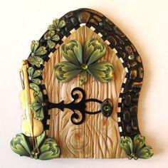 Lucky Four Leaf Clover Fairy Door Pixie Portal by Claybykim