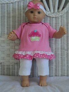 Bitty Baby Girl cute 3  pc Pink and white  and has a by btcrafts, $14.00