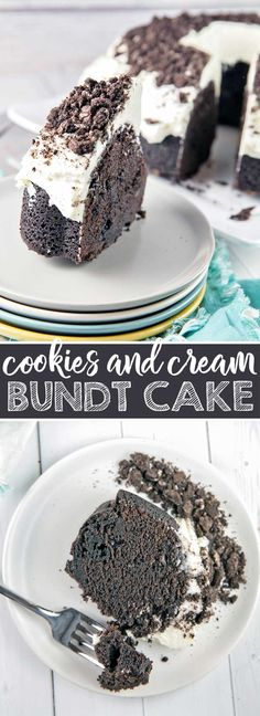 Cookies and Cream Oreo Bundt Cake: the ultimate deep, dark, rich chocolate cake, full of chopped oreos and covered in marshmallow butter cream frosting. {Bunsen Burner Bakery} #cake #bundtcake #oreos #cookiesandcream via @bnsnbrnrbakery