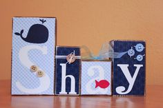 Whale Nursery-  Personalized Wood Blocks