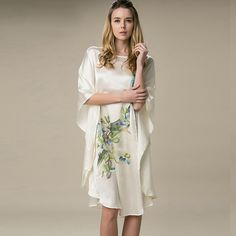 512f4539ad 100% Silk Satin Dress Natural Mulberry Silk Women Dresses Plus Size Home  Dress Handmade Painting