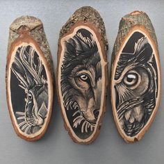 Netherlands-based artist Kirsten Roodbergen celebrates the organic beauty of a wooden canvas with her bold, nature-themed drawings. Working on small slices Wood Burning Crafts, Wood Burning Patterns, Wood Burning Art, Wood Crafts, Wooden Art, Wood Slices, Pyrography, Painting On Wood, Wood Paintings