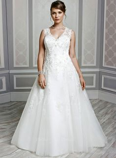 A-Line/Princess V-neck Chapel Train Beading Appliques Lace Tulle Covered Button Regular Straps Sleeveless Church General Plus No Winter Spring Fall Ivory White Wedding Dress