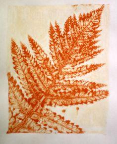 Gelli print made using a fern
