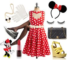 """""""DIY Minnie Mouse Costume"""" by pheline ❤ liked on Polyvore"""