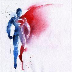 Well, They're No Fingerpaintings: Superhero Watercolors - Superman