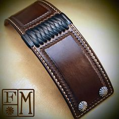 Brown Leather cuff Bracelet American Western Saddle wristband