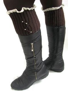 Leg warmerbrown leg warmer Boot Socks Boot Cuffs knit by asuhan, $25.00