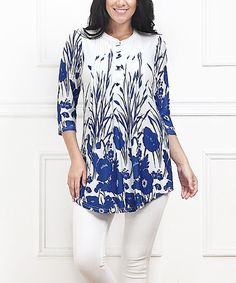 Another great find on #zulily! Blue Meadow Notch Neck Tunic - Plus by Reborn Collection #zulilyfinds