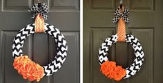 Halloween Chevron Wreath with Orange Ruffles | Jane