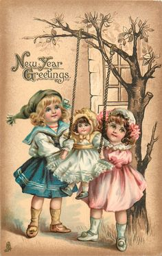 new year greetings two children swing doll vintage happy new year happy new year cards