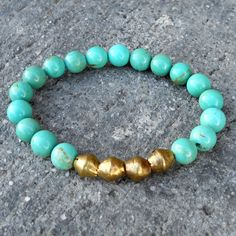 Turquoise and African trade beads mala bracelet by #lovepray #jewelry