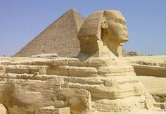 A reclining lion with a human head that stands on the Giza Plateau on the west bank of the Nile, near modern-day Cairo, is the largest monolith statue in the world. Standing 73.5 m (241 ft) long, 6 m (20 ft) wide, and 20 m (65 ft) high, the Great Sphinx of Giza is also the oldest known monumental sculpture, and is commonly believed to have been built by ancient Egyptians in the third millennium BCE. The Great Sphinx faces due east and houses a small temple between its paws.