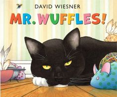 Mr. Wuffles by David Wiesner. Mr. Wuffles ignores all his cat toys but one, which turns out to be a spaceship piloted by small green aliens. When Mr. Wuffles plays rough with the little ship, the aliens must venture into the cat's territory to make emergency repairs.