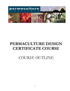 Permaculture Design Course Outline