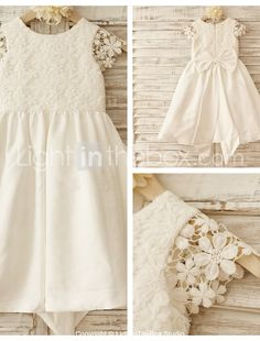 A-line Knee-length Flower Girl Dress - Cotton/Lace Short Sleeve 2015 – $51.99
