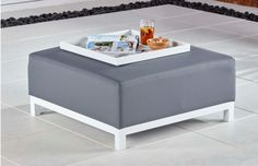 Club Upholstered Ottoman with Tray CLUBOTTK 1