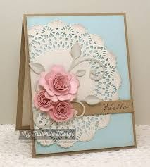 Hello card by Barbara Anders - Scrapbook Expo - Weekly Scrapper Pretty Cards, Cute Cards, Diy Cards, Scrapbook Expo, Scrapbook Cards, Shabby Chic Cards, Paper Doilies, Beautiful Handmade Cards, Marianne Design