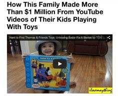 So, this is pretty amazing! One family found a creative way to turn YouTube in a very lucrative income source for their family. Here's a snippet of the article that Yahoo! posted today...