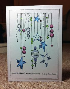 Claire's Crafty Makes: Inspired by Joanne Wardle for Paperartsy Christmas Doodles, Diy Christmas Cards, Christmas Art, Handmade Christmas, Watercolor Christmas Cards, Watercolor Cards, Happy Paintings, Christmas Paintings, Homemade Cards
