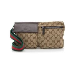 Pre-Owned Gucci GG Canvas Waist Belt Bag ($350) ❤ liked on Polyvore featuring bags, brown, preowned bags, handle bag, gucci bags, brown handle bags and bamboo bag