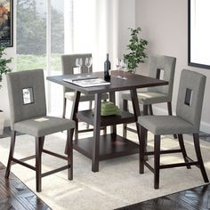 "Shop for CorLiving Bistro 5pc 36"" Counter Height Rich Cappuccino Dining Set. Get free delivery at Overstock.com - Your Online Furniture Shop! Get 5% in rewards with Club O!"