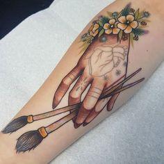 31 Amazing Tattoo Ideas For Women - Page 16 of 18 - Tattoo Designs Bild Tattoos, Dope Tattoos, Trendy Tattoos, Leg Tattoos, Arm Tattoo, Body Art Tattoos, Tatoos, Paintbrush Tattoo, Pencil Tattoo
