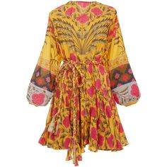 Rhode Resort Ella Printed Mini Dress ($385) ❤ liked on Polyvore featuring dresses, floral, yellow skater skirt, mini dress, circle skirts, balloon sleeve dresses and yellow circle skirt