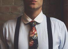 A TAFT look up top. Floral tie x suspenders