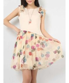 Khaki Bow Sleeve Round Neck Printed Slim Fitting Chiffon Dress S/M/L
