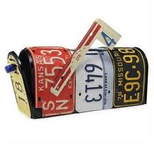 Recycled Handmade Mailbox From Vintage License Plates by Aaron Foster I would love one of these! The next swap meet I go to I will definitely be looking for a couple colourful vintage license plates for my own DIY version. License Plate Crafts, Old License Plates, License Plate Art, Licence Plates, Recycled Gifts, Recycled Materials, Plate Mail, Upcycling Design, Car Part Art