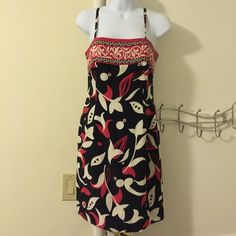 INC silk dress Red/ black and white 100% shell silk lining and dress is 100% polyester.  Zips up in the back INC International Concepts Dresses Midi