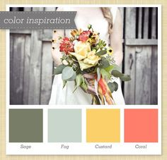 coral, gold, yellow, blue gray, charcoal, dark gray #color