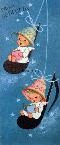 #1452 50s Marjorie Cooper Angel Girls Under Bell Hair Dryers- Vtg Christmas Card
