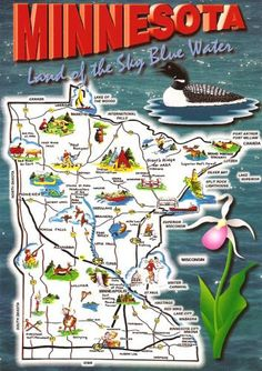 Minnesota Map  ~  My youngest daughter was born in Burnsville, Minnesota, right outside Minneapolis  <3