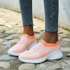 New Women Sneakers Ladies Vulcanized Shoes Ladies Flat Platform On Casual Women's Mesh Breathable Footwear Female Fashion Slip Burgundy Sneakers, Dress With Sneakers, Dress And Heels, Casual Sneakers, Sneakers Fashion, Colorful Sneakers, Sneaker Heels, Sneaker Outfits, Lace Up Flats