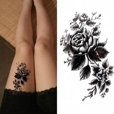 05d033e975438 Black big flower Body Art Waterproof Temporary Sexy thigh tattoos rose For  Woman Flash Tattoo Stickers