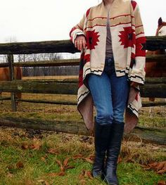 Tan & Red Southwest-Inspired Sweater