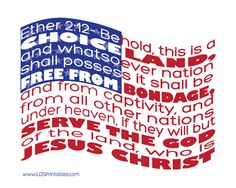 """""""Behold, this is a choice land, and whatsoever nation shall possess it shall be free from bondage, and from captivity, and from all other nations under heaven, if they will but serve the God of the land, who is Jesus Christ..."""" (Ether 2:12)"""