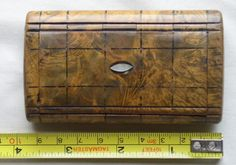 Antique Snuff Box, Burl wood, mother of pearl, Painted checked decorations, late 18th early 19th century