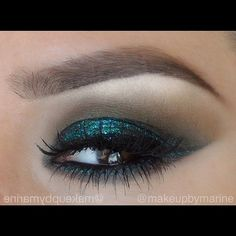 Beautiful HolidayLk by ✨@makeupbymarine✨ 1.) Nars nightclubbing all over the lid 2.) crease-blend a dab of jade-Stila and Mac-Sable 3.) on the brow bone Inglot eyeshadow #395 4.) on bottom line is eye pencil Napoleon perdis-bottle green 5.) apply glitter from Mac-emerald using BenNye Liquid Set to help make the glitter stay 6.) apply lash #62 from Naimies 7.) single individual lashes size *small* on the bottom to make them fuller 8.) eyebrows-define using an angle brush , starting from th...