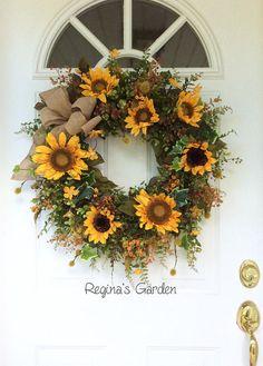 Summer Door Wreath-Sunflower Wreath-Fall Wreath-Front Porch